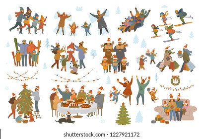 merry Christmas and winter family set, parents and children shopping, sledding, ice skating, ski, make snowman, sing carols, celebrate Xmas evening, have dinner, decorate tree, exchange presents scene