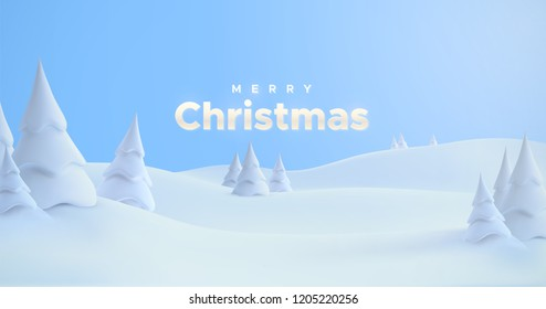 Merry Christmas. Winter holiday landscape with snowdrifts and snowy fir trees. Vector 3d illustration. Seasonal nature background. Frosty snow hills.