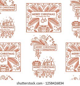 Merry Christmas winter holiday monochrome logo seamless pattern vector. Happy new year, branch of pine, decorated evergreen fir, present and gifts boxes. Bell and ribbon decoration, traditional symbol