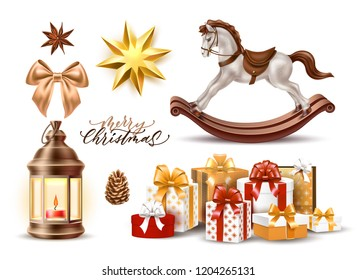 Merry christmas winter holiday realistic symbols set. Christmas tree star shape golden toy, rocking horse present boxes pile, vintage lantern with candle, pine cone, silk bow. Vector illustration