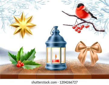 Merry christmas winter holiday realistic symbols on wooden table with frozen trees background. Star shape golden toy, holly leaves bullfinch at rowanberry tree branch, vintage lantern pine cone bow.