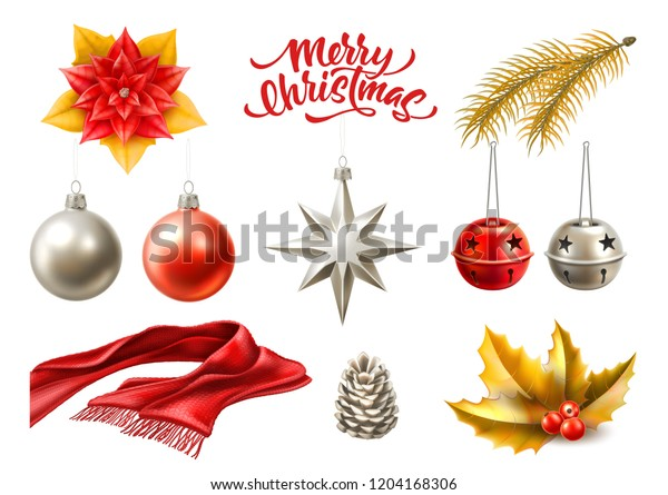 Merry christmas winter holiday realistic symbols set. Christmas tree toys - vector balls, star jingle bells, spruce tree branch, holly leaves with berry, poinsettia flower, pine cone, knitted scarf