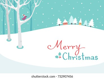Merry Christmas winter landscape