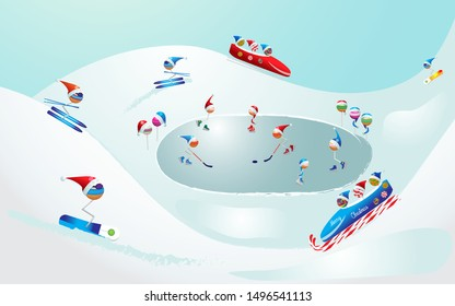 Merry Christmas, winter landscape,ski resort. Lollipops,candy cane in winter sports, games. Christmas, Happy New Year, winter sports. Sweets icon set in winter image. Lollipop in sports design. Vector