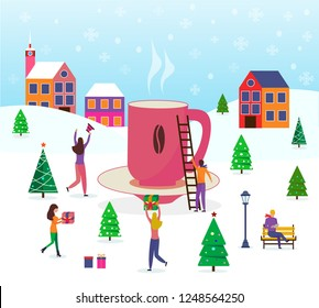 Merry Christmas, winter scene with a big coffee or cocao mug and small people, young men and women, families, which have fun in snow.