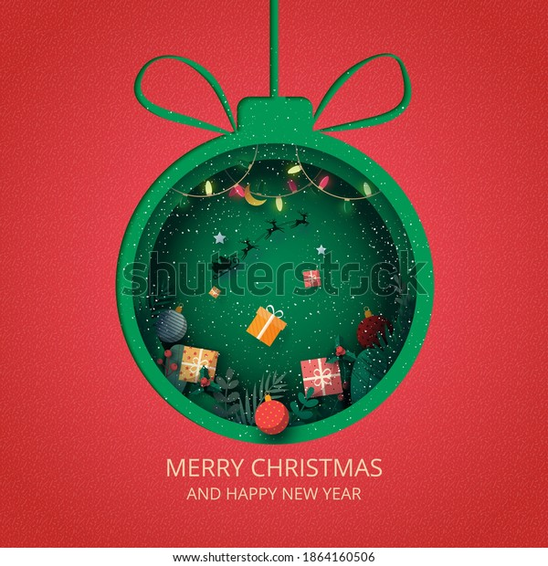Merry Christmas and winter season on red background.Green christmas decorated with gift box and santa Claus in sleigh.Paper art vector illustration.