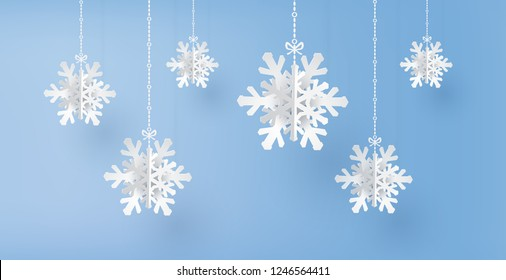 Merry Christmas and winter season with paper cut  snow flake,  Merry Christmas design.