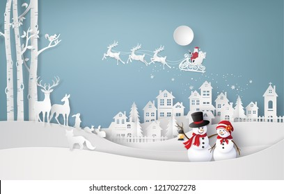 \rMerry Christmas and winter season,with santa claus and snow man. Paper art and craft style.
