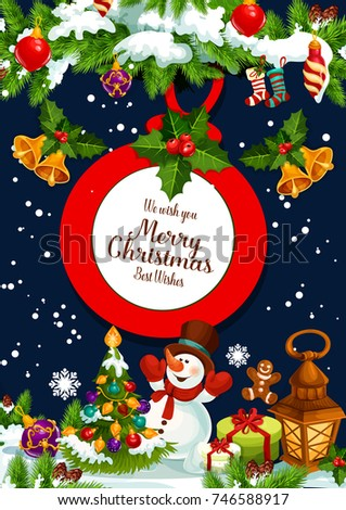 Merry Christmas Wish Greeting Card Design Stock Vector (Royalty Free ...