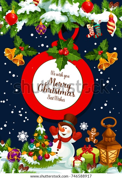 Merry Christmas Wishes Greeting Cards.Merry Christmas Wish Greeting Card Design Stock Vector