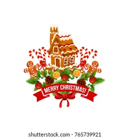 Merry Christmas wish lettering on red ribbon and gingerbread cookie house, man or star candy on New Year fir tree wreath ornament in snow. Vector isolated icon for winter happy Christmas holidays