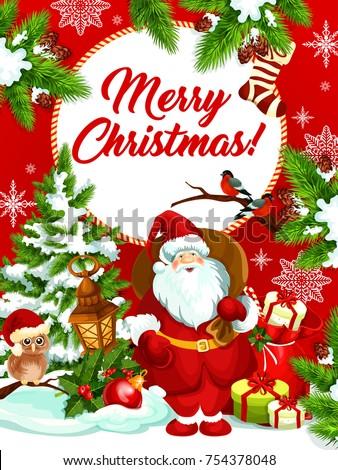 Merry Christmas Wishes Greeting Card Santa Stock Vector (Royalty ...
