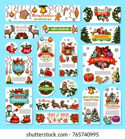 Merry Christmas wishes of happy holidays winter season greeting cards and banners design. Vector Christmas tree decorations, snowman and Santa reindeer, present gifts ribbon and New Year golden bells