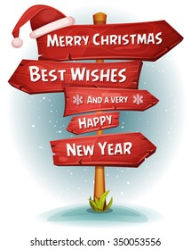 Merry Christmas Wood Road Signs Arrows/ Illustration of a cartoon comic merry christmas and happy new year message on red wooden road and transportation arrows signs, with santa claus hat