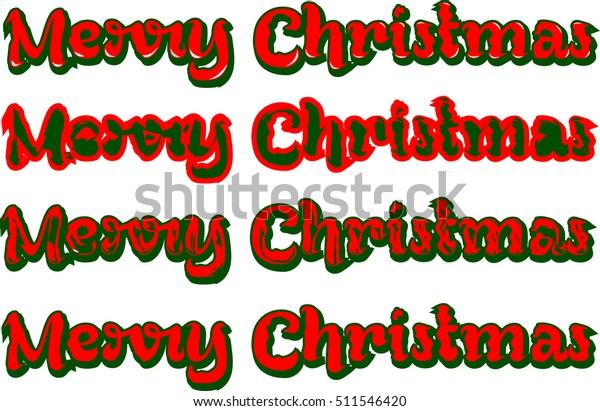 Merry Christmas Word Art Design Stock Vector Royalty Free