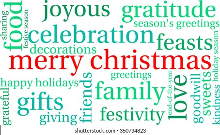Merry Christmas word cloud on a white background.