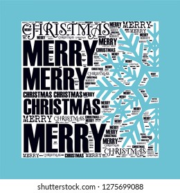 Merry Christmas words with snow crystal isolated together vector illustration