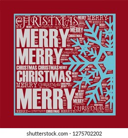 Merry Christmas words with snow crystal illustration together vector pattern