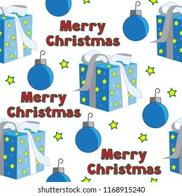 Merry Christmas words text gift wrapped blue ornament stars yellow red green seamless pattern