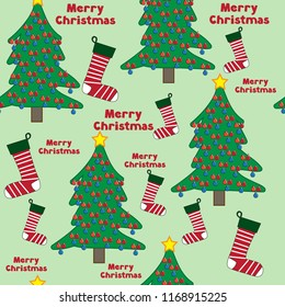 Merry Christmas words text tree decorations holiday stockings seamless pattern vector