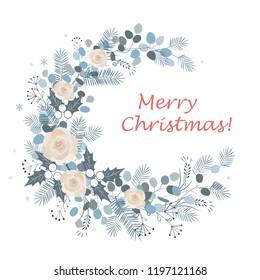 Merry Christmas wreath design. New Year decoration, vector