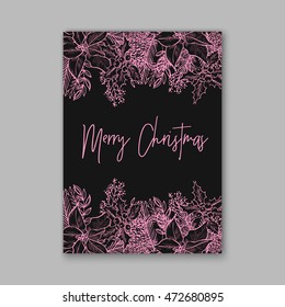 merry christmas wreath floral wedding invitation with winter christmas wreath merry christmas and happy new