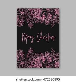 merry christmas wreath floral wedding invitation with winter christmas wreath merry christmas and happy new
