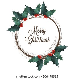 Merry Christmas wreath with Holly and lettering text on white background.  Vector