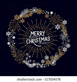 Merry Christmas Wreath with snowflakes and floral patterns. Vector illustration