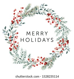 Merry Christmas wreath with text, white background. Green fir twigs and red berries. Vector illustration. Nature design greeting card template. Winter xmas holidays