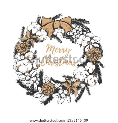 Christmas Wreath Drawing.Merry Christmas Wreath Vector Illustration Christmas Stock