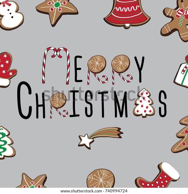 Merry Christmas Written Christmas Gingerbread Cookies Stock Vector