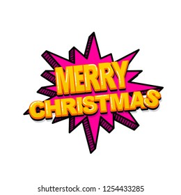 Merry Christmas xmas comic text sound effects pop art style. Vector speech bubble word and short phrase cartoon expression illustration. Comics book colored background template.