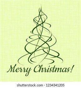 Merry Christmas! Xmas green tree on fabric background. Vector template illustration.