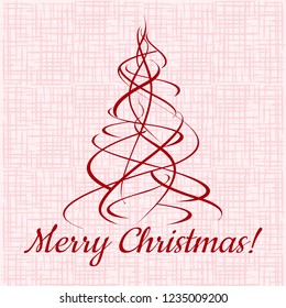 Merry Christmas! Xmas red tree on fabric background. Vector template illustration.