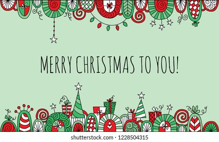 Merry Christmas to You with Hand Drawn Vector Doodle Border with Light Green Background