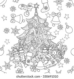 Merry Christmas Zentangle Fir Tree Doodle Hand Drawn Vector Background With Decorations