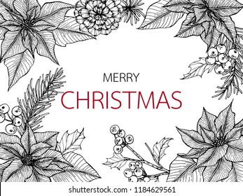 Merry Christmas'day backgroungs with line art drawing illustration of poinesettia, maple leaf, pine, holly