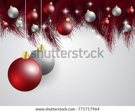 Merry Christmas New Year Card Glitter Decoration Stock Vector ...