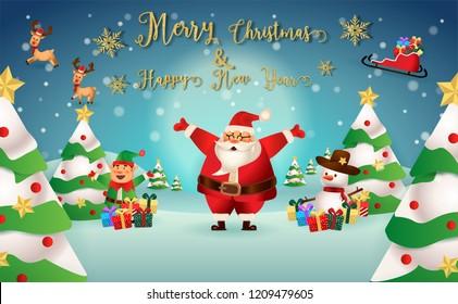 christmas santa claus reindeer snowmen background stock vector