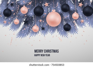 Merry Chritmas tree branches elegant luxury design with balls, star. Vector illustration, 2018 Happy New Year background. Black, red, pink christmas balls. Tree concept. Isolated on  background. EPS10