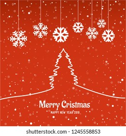 Merry cristmas card with tree and red background. happy new year 2019. ready for poster or flyer.