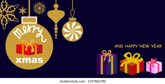 Merry Cristmas and Happy New Year greeting card. Gifts and festive decorations on black background. Trendy minimal design.