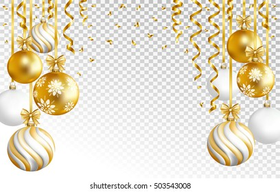 Merry Cristmas and Happy New Year card with gold, white and striped balls and gold serpentine on transparent background. Vector illustration.