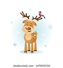 Merry Deer with Bullfinch. Cute Christmas cartoon character. Vector illustration without transparent objects.
