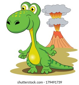 Merry dinosaur on a background volcanic eruption.