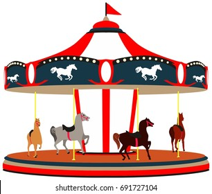 Merry Go Round Game cartoon illustration a traditional carousel with horses