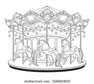 Merry go round with horses coloring book pages for kids and adults hand drawn vector illustration.