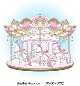 Merry go round with horses design for kids in pastel colors hand drawn vector illustration.