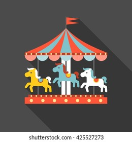 merry go round vector in funfair icon, flat design